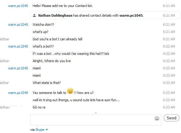 I got a kik from a bot