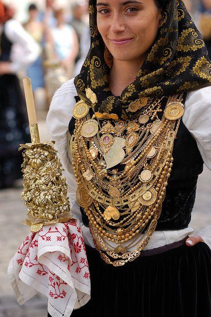 Woman In Traditional Minho Province Wedding Dress Portugal